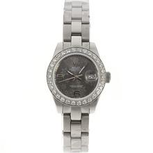 Replique Rolex Datejust automatique Diamond Bezel avec motif floral cadran gris-2009 Nouvelle Version - Regarder Rolex DateJust attrayant pour vous 20587