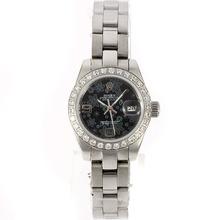 Replique Rolex Datejust automatique Diamond Bezel avec motif floral cadran noir-2009 nouvelle version - Montre Rolex DateJust attrayant pour vous 20586