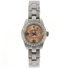 Replique Rolex Datejust automatique Diamond Bezel avec Motif Floral Champagne Dial-2009 Nouvelle Version - Regarder Rolex DateJust attrayant pour vous 20585
