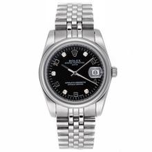 Replique Rolex Datejust automatique Diamond / Nombre marqueurs avec cadran S / S-verre de saphir Noir - Montre Rolex DateJust attrayant pour vous 20584