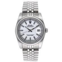 Replique Rolex Datejust marqueurs de bâton automatique avec cadran blanc S / S-verre de saphir - Belle Montre Rolex DateJust pour vous 20583