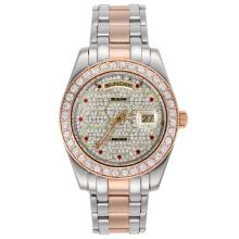 Replique Rolex Masterpiece automatique Two Tone II avec lunette sertie de diamants et Dial - Marqueurs Diamant Rouge 24755