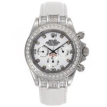 Replique Rolex Daytona-Chronographe Diamond Bezel et marqueurs avec cadran blanc - Bracelet Cuir Blanc - Attractive Rolex Daytona Montre pour vous 23446