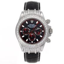 Replique Rolex Daytona Chronographe de travail index diamants lunette de bâton avec cadran noir - Bracelet en cuir - Attractive Rolex Daytona Montre pour vous 23444