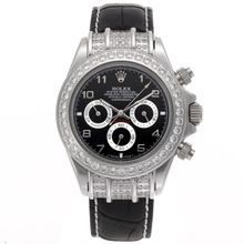 Replique Rolex Daytona Chronographe de travail marqueurs de diamant Nombre Bezel avec cadran noir - Bracelet en cuir - Attractive Rolex Daytona Montre pour vous 23443