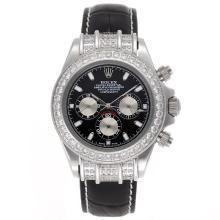 Replique Rolex Daytona Chronographe de travail index diamants lunette de bâton avec cadran noir - Bracelet en cuir - Attractive Rolex Daytona Montre pour vous 23442
