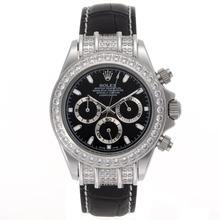 Replique Rolex Daytona Chronographe de travail index diamants lunette de bâton avec cadran noir - Bracelet en cuir - Attractive Rolex Daytona Montre pour vous 23441
