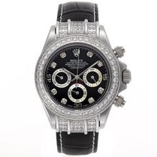 Replique Rolex Daytona-Chronographe Diamond Bezel et marqueurs avec cadran noir - Bracelet en cuir - Attractive Rolex Daytona Montre pour vous 23440