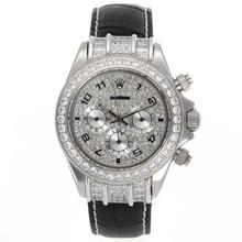 Replique Rolex Daytona-Chronographe Diamond Bezel Dial et avec les marqueurs numériques - Bracelet en Cuir - Attractive Rolex Daytona Montre pour vous 23439