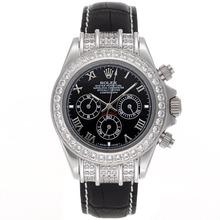 Replique Rolex Daytona Chronographe de travail lunette sertie de diamants marqueurs romains avec cadran noir - Bracelet en cuir - Attractive Rolex Daytona Montre pour vous 23437