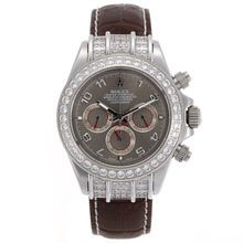 Replique Rolex Daytona Chronographe de travail marqueurs de diamant Nombre Bezel avec cadran gris - Bracelet Cuir Marron - Belle Rolex Daytona Montre pour vous 23435