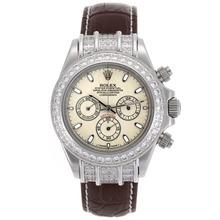 Replique Rolex Daytona Chronographe de travail index diamants lunette avec cadran de bâton Granit - Bracelet Cuir Marron - Attractive Rolex Daytona Montre pour vous 23434