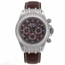 Replique Rolex Daytona Chronographe de travail marqueurs romaine avec lunette sertie de diamants, cadran brun - bracelet en cuir brun - Attractive Rolex Daytona Montre pour vous 23433