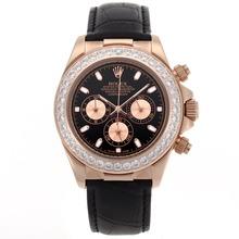Replique Rolex Daytona-Chronographe en or rose avec lunette sertie de diamants et cadran noir - marqueurs de bâton - Attractive Rolex Daytona Montre pour vous 23430