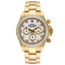 Replique Rolex Daytona-Chronographe Lunette Or plein de diamants et des marqueurs avec cadran blanc - Attractive Rolex Daytona Montre pour vous 23316