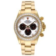 Replique Rolex Daytona Chronographe de travail complètes or marqueurs de diamant Nombre Bezel avec cadran blanc - Attractive Rolex Daytona Montre pour vous 23315