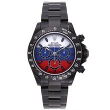 Replique Rolex Daytona Chronographe Suisse Valjoux 7750 Mouvement PVD complet avec Blanc / Bleu / Rouge Dial - Attractive Rolex Daytona Montre pour vous 23313