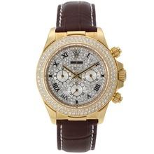 Replique Rolex Daytona Chronographe de travail marqueurs boîtier en or romaines avec lunette sertie de diamants et Dial-bracelet en cuir Rolex Daytona - Montres attrayant pour vous 23312