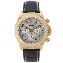 Replique Rolex Daytona Chronographe de travail marqueurs d'or Nombre de cas avec lunette sertie de diamants et Dial-bracelet en cuir Rolex Daytona - Montres attrayant pour vous 23311
