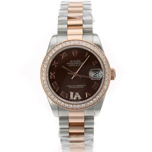 Replique Rolex Datejust Swiss ETA 2836 Mouvement deux marqueurs Tone Diamond Bezel avec cadran brun romaine S / S Mid-Size - Belle Montre Rolex DateJust pour vous 20449