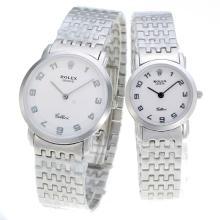 Replique Marqueurs Nombre Rolex avec cadran S / S-Couple Regarder Blanc - Attractive autres Rolex Regarder pour vous 24886