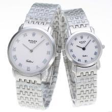 Replique Rolex marqueurs romains avec cadran S / S-Couple Regarder Blanc - Attractive autres Rolex Regarder pour vous 24885