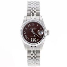 Replique Rolex Datejust Swiss ETA 2671 Mouvement marqueurs romains avec cadran brun S / S-Taille-Dame - Belle Montre Rolex DateJust pour vous 20400