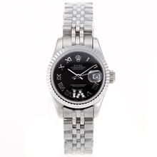 Replique Rolex Datejust Swiss ETA 2671 Mouvement marqueurs romains avec cadran S / S-Taille-Dame Noire - Belle Montre Rolex DateJust pour vous 20399