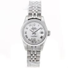Replique Rolex Datejust Swiss ETA 2671 Mouvement marqueurs romains avec cadran S / S-Taille-Dame Blanche - Belle Montre Rolex DateJust pour vous 20398