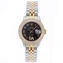 Replique Rolex Datejust Swiss ETA 2671 Mouvement deux marqueurs Tone Diamond Bezel Dial romaine avec S / S-Taille-Dame Noire - Belle Montre Rolex DateJust pour vous 20397