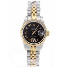 Replique Rolex Datejust Swiss ETA 2671 Mouvement deux marqueurs romains Tone avec cadran S / S-Taille-Dame Noire - Belle Montre Rolex DateJust pour vous 20396