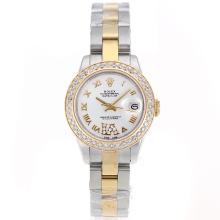Replique Rolex Datejust Swiss ETA 2671 Mouvement deux marqueurs Tone Diamond Bezel Dial romaine avec S / S-Taille-Dame Blanche - Belle Montre Rolex DateJust pour vous 20395