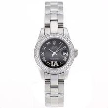 Replique Rolex Datejust Swiss ETA 2671 Mouvement marqueurs Diamond Bezel Dial romaine avec S / S-Taille-Dame Noire - Belle Montre Rolex DateJust pour vous 20394