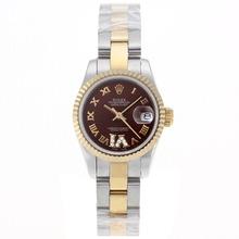 Replique Rolex Datejust Swiss ETA 2671 Mouvement deux marqueurs romains Tone avec cadran brun S / S-Taille-Dame - Belle Montre Rolex DateJust pour vous 20393