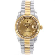 Replique Rolex Day-Date automatique à deux tons Diamant Marquage avec Golden Dial-verre de saphir - Attractive montre Rolex Day Date 22303 pour vous