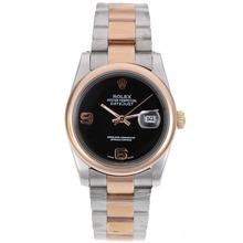 Replique Rolex Datejust automatique Two Tone avec cadran noir - Attractive montre Rolex DateJust pour vous 20365