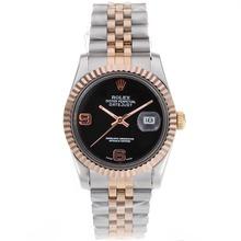 Replique Rolex Datejust automatique Two Tone avec cadran noir - Attractive montre Rolex DateJust pour vous 20361