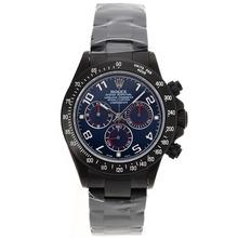 Replique Rolex Daytona Chronographe Suisse Valjoux 7750 Mouvement complète des marqueurs Nombre PVD avec cadran bleu Rolex Daytona - Montres attrayant pour vous 23234