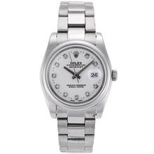 Replique Rolex Datejust automatique index diamants avec cadran blanc S / S-verre de saphir - Belle Montre Rolex DateJust pour vous 20349