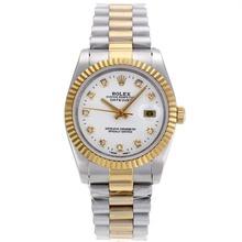 Replique Rolex Datejust automatique Deux marqueurs de diamant Tone avec cadran blanc-verre de saphir - Belle Montre Rolex DateJust pour vous 20348