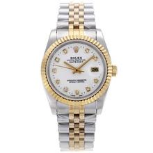 Replique Rolex Datejust automatique Deux marqueurs de diamant Tone avec cadran blanc-verre de saphir - Belle Montre Rolex DateJust pour vous 20347