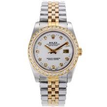 Replique Rolex Datejust automatique à deux lunette sertie de diamants ton et marqueurs avec cadran blanc-verre de saphir - Attractive montre Rolex DateJust pour vous 20346