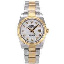 Replique Rolex Datejust automatique Deux marqueurs de diamant Tone avec cadran blanc-verre de saphir - Belle Montre Rolex DateJust pour vous 20345