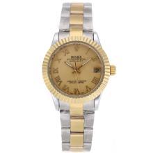 Replique Rolex Datejust automatique Deux marqueurs romains Tone avec cadran doré - Belle Montre Rolex DateJust pour vous 20344