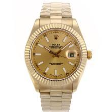 Replique Rolex Day-Date II Swiss ETA 2836 Mouvement complet marqueurs de bâton d'or avec cadran or - Belle Rolex Day Date II Montre pour vous 22659