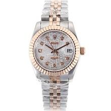 Replique Rolex Datejust automatique Deux marqueurs de diamant Tone avec cadran blanc - Ordinateur attrayant Montre Rolex DateJust pour vous 20343