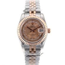 Replique Rolex Datejust automatique Deux marqueurs de diamant Tone avec cadran en or rose - Belle Montre Rolex DateJust pour vous 20342