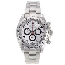 Replique Rolex Daytona II chronographe suisse Valjoux 7750 Nombre Marqueurs Mouvement avec cadran blanc S / S 24173