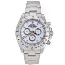 Replique Rolex Daytona II chronographe suisse Valjoux 7750 Mouvement marqueurs de bâton avec cadran blanc S / S 24172