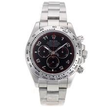 Replique Rolex Daytona II chronographe suisse Valjoux 7750 Nombre Marqueurs Mouvement avec cadran noir S / S 24171